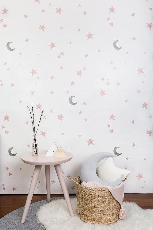 Papel pintado Cielo estrellado - tonos rosas