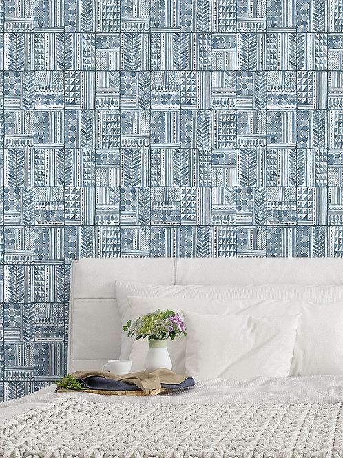 Papel pared Patchwork Azul tinta