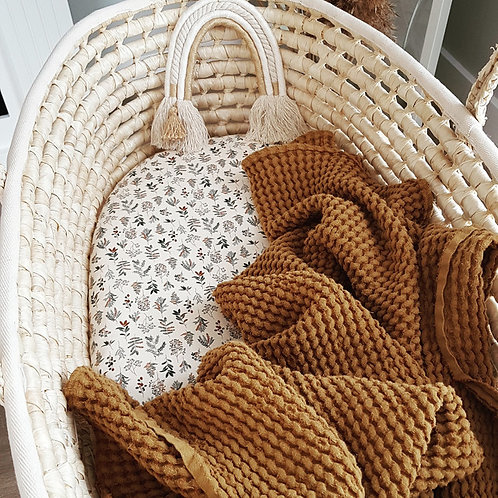 Manta de lino y algodón - mostaza