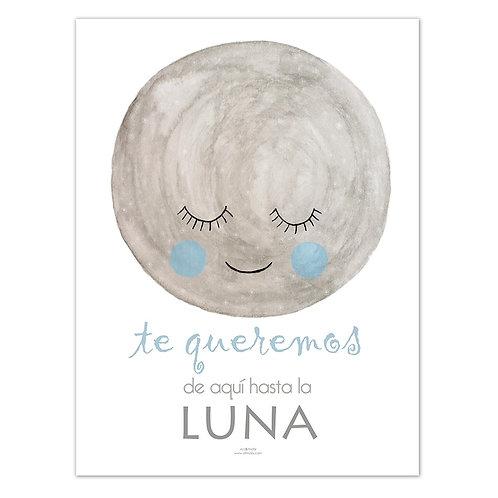 Lámina Luna tonos azules