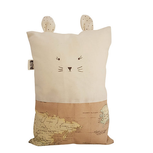 Cojín gato mapamundi arena (personalizable)