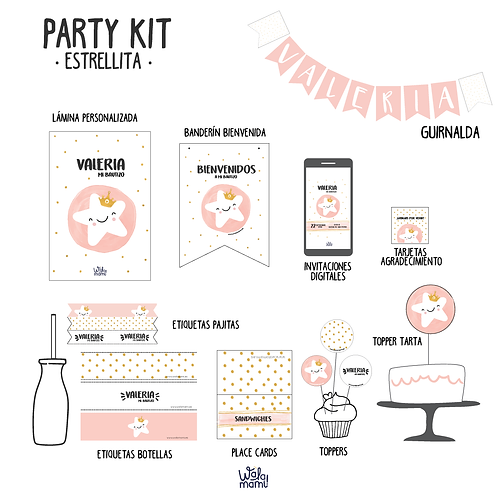 Party kit estrellita rosa