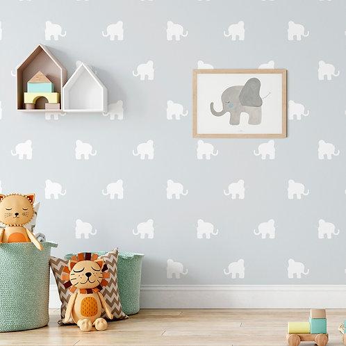 Papel pintado Elefantes azules