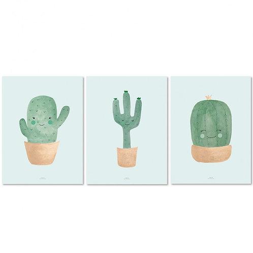 Juego de láminas Cactus tonos azules - Más colores