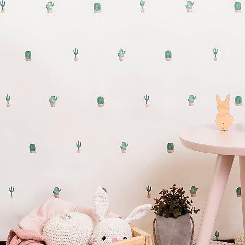 Papel pintado Cactus tonos rosas