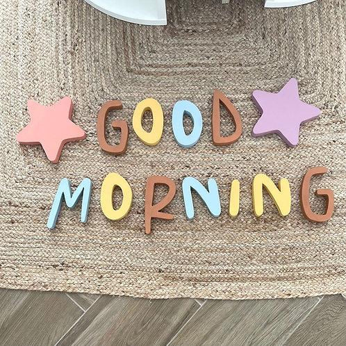 Letras de madera pared - good morning