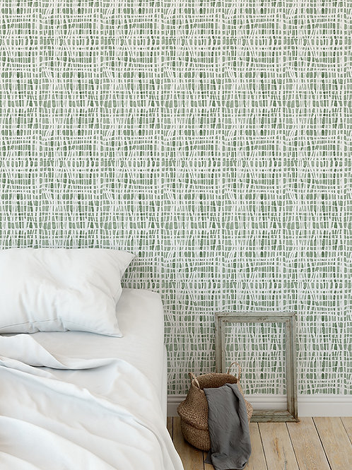 Papel pared Shibori Verde