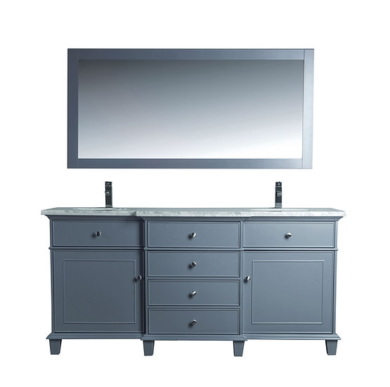 "Cadence Grey 72"" Double Sink Vanity with Mirror"