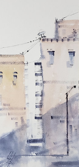 """Emtpy Shadows No.3"" Original 5x12 Watercolor"