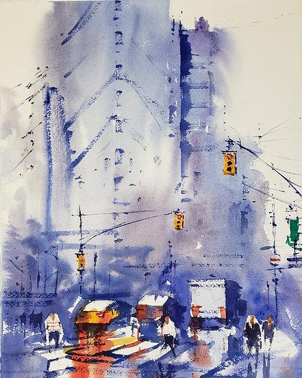 """Urban Mist"" Original 11x14 Watercolor"
