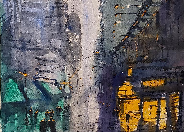 """Evening Downtown"" 8x10 print"