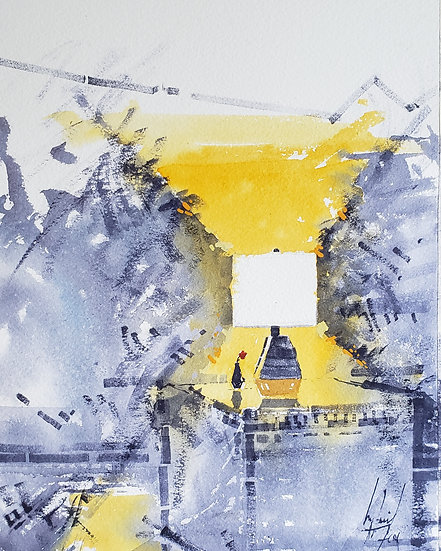 """Rose Under Light"" Original 8x10 Watercolor"