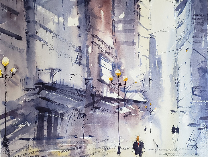 """Urban Atmosphere"" Original 11x14 Watercolor"