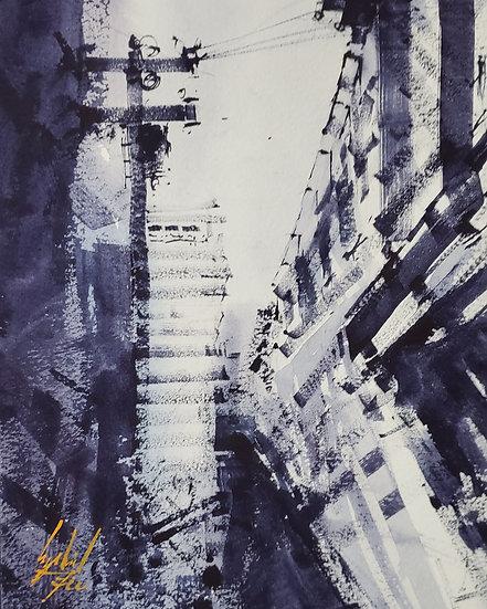 """Urban Outline"" Original 8x10 Watercolor"