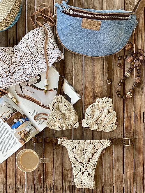 crochet bikini leather