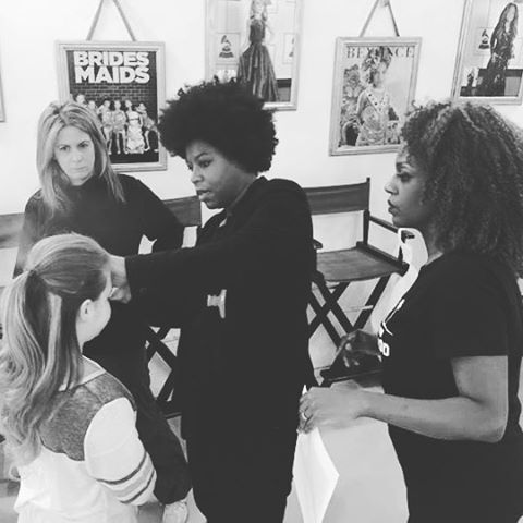 Getting the final approval from #triciamesseroux #behindthescenes _toddlewood #goldenglobes2016 #red