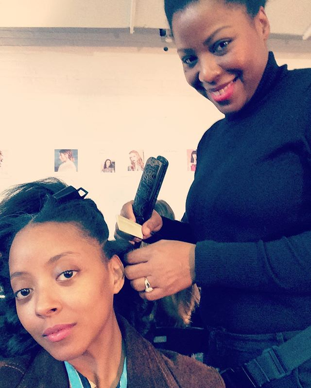 #behindthescenes _aliceandolivia #nyfw creating #runway looks for this #beautiful #natural #hair #mo