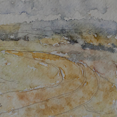 "Windover Hill Watercolour 6 1/2""X4 1/2"" Unpredictable, magical, powerful - it poured as we sat under the Long Man of Wilmington drawing together, then running down the hill together soaked."