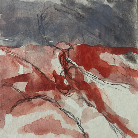 """Remembering S: Deep reflections fall on ruby hills, heavy sky, marching night. 5""""x5"""" watercolour and graphite pencil."""