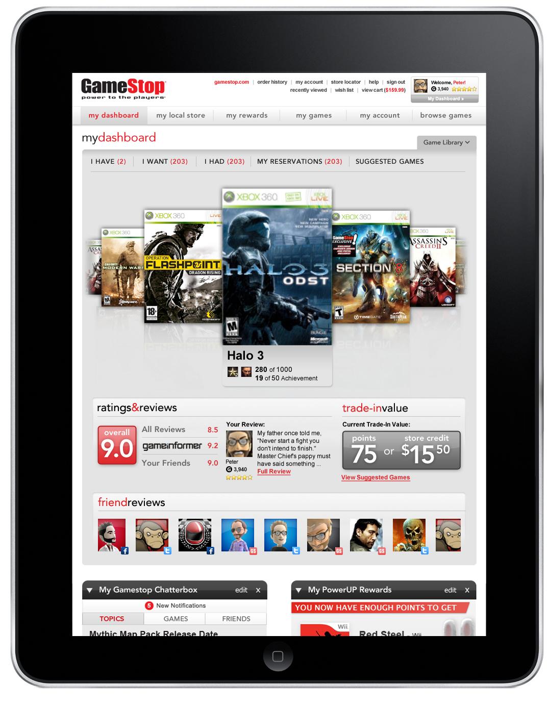 Gamestop iPad view