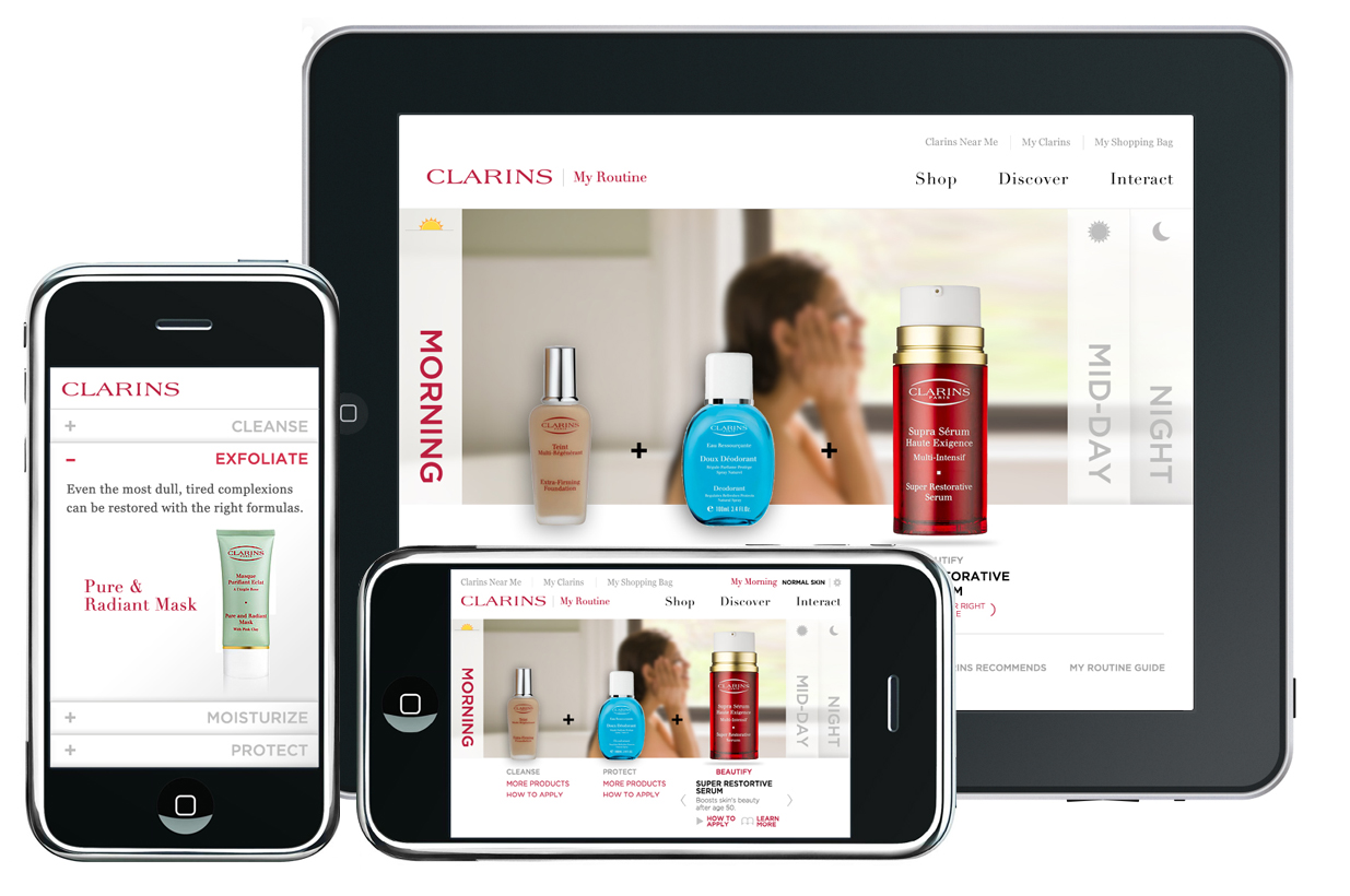 """Clarins """" Your daily beauty regime """" app"""