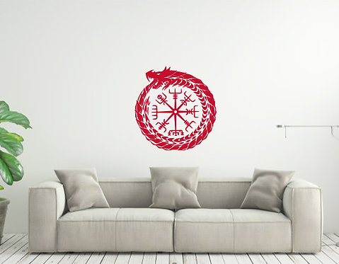 Norse Dragon Compass Custom vinyl wall decal