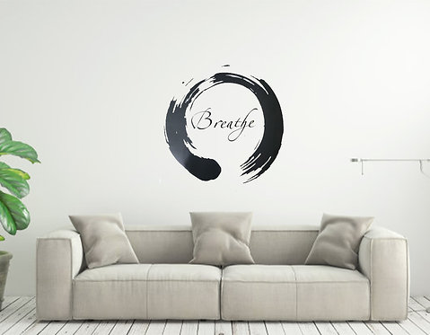 Zen Circle Breathe custom vinyl wall decal