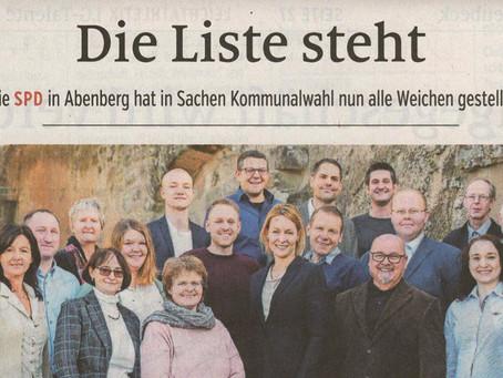 """Zeitungsbericht: """"Die Liste steht"""""""