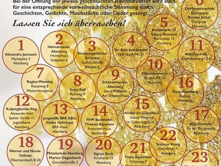 Advent, Advent, ein Lichtlein brennt... Abenberger Adventskalender, die ersten 12 Fenster