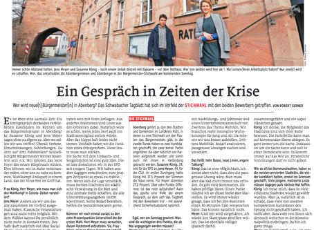 """Zeitungsbericht: """"Ein Gespräch in Zeiten der Krise"""""""