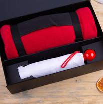 Набор подарочный RAINY DAY: зонт складной, механический, плед, коробка, красный