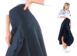 SS2003 - London Denim - Asymetric Insert Skirt and Vicorian Shirt