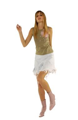 SS2003 - London Denim - Pigeon Print Kint Vest with London Fields Asymetric Mini Skirt