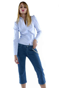 SS2003 - London Denim - Capri Jeans with Chain and Slight Puff Sholder Shirt