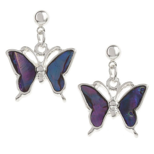 Butterfly drop stud earrings - purple