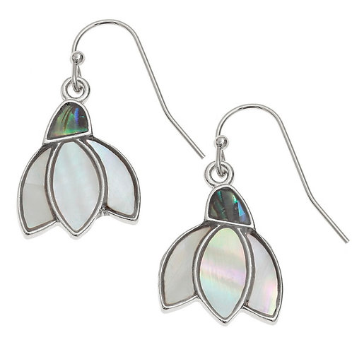 Snowdrop flower hook earrings