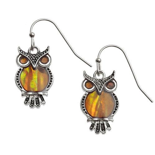 Tide Jewellery Orange Owl earrings