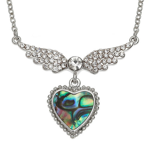 "Winged heart necklace on 18"" trace chain"