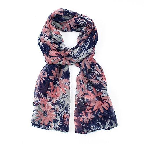 Floral print scarf ~Dark Blue