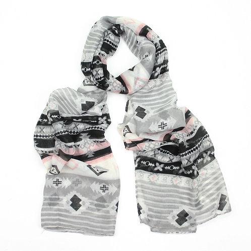Aztec inspired print scarf ~ grey