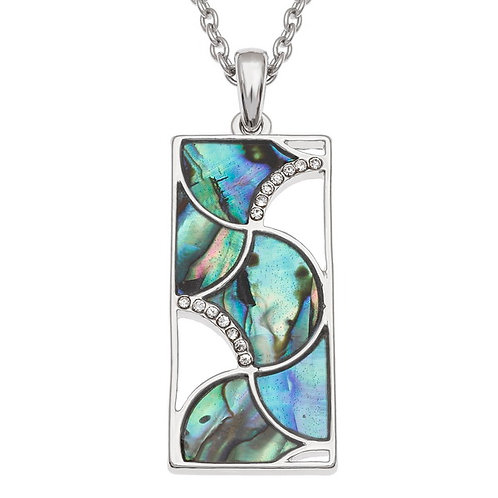 Curved geometric shapes pendant & chain