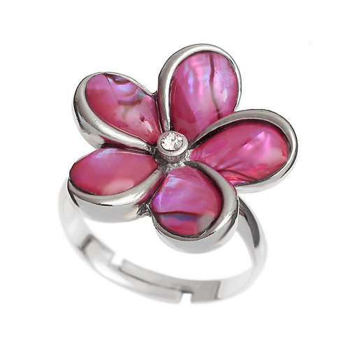 Pink paua shell flower ring