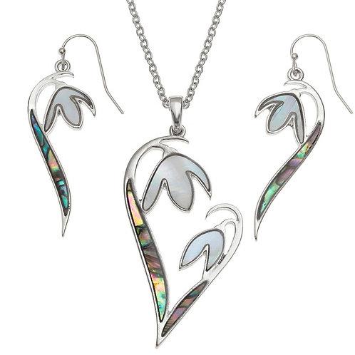 Snowdrop flower heart pendant & earring set