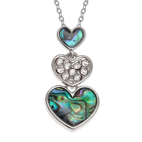 Triple heart drop pendant & chain
