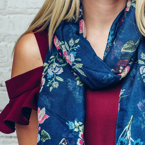 Haven blue butterfly & floral print scarf