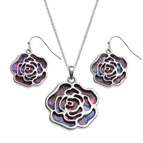 Rose pendant & earring set - pink