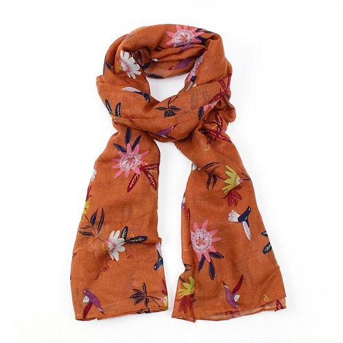 Passion flower & hummingbird scarf
