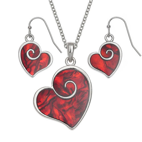 Red Heart Swirl pendant & earring set