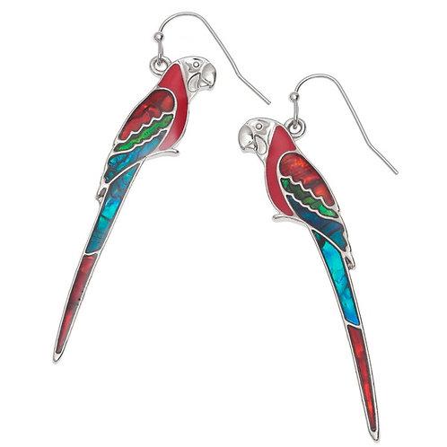 Perched Macaw hook earrings