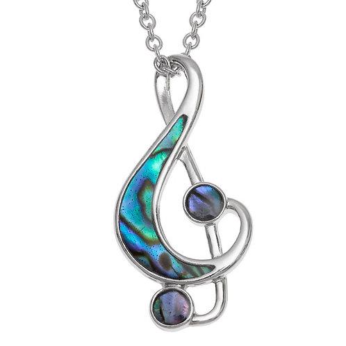 Treble clef music note pendant & chain